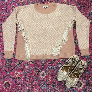 Madewell fringe merino wool sweater Xs